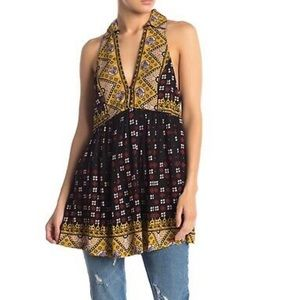 NWT- Free People Charlotte Mixed Print Halter Top
